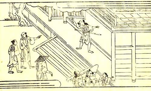 [Taro stands firm with his feet set apart at the gates of Kiyomizu Temple]