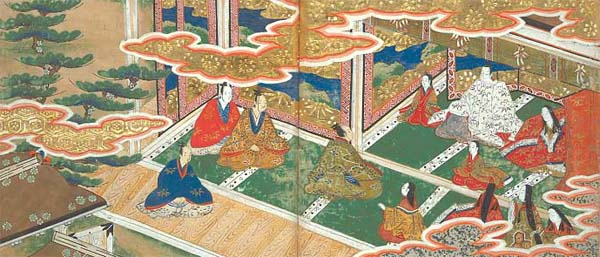 [View of Lord Daiguji's magnificent mansion. Lord Daiguji sits in line with his wife and children. The upright figure in the green clothes is Bunta.]