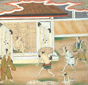 [Bunsho tells Lord Daiguji that his wealth is too great to be counted. His store houses are crammed full of straw rice bags.]
