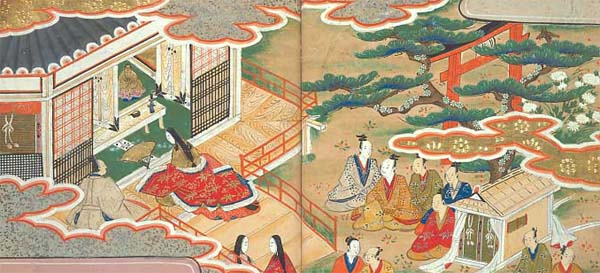 [Bunsho and his wife visit the shrine of Kashima-daimyojin and pray to be granted a child.]